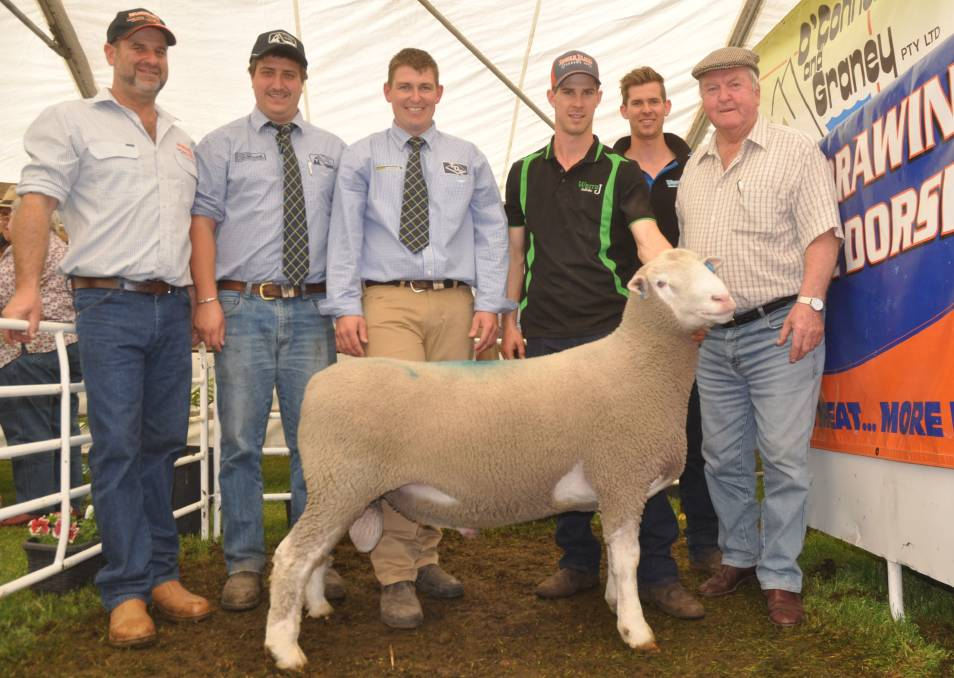 Warrawindi stud principal David Galpin, O'Connor & Graney auctioneer Ethan Bronca, Thomas DeGaris & Clarkson auctioneer Matt Treglown, Jordan and Mason Galpin with Trevor Little, Kongorong, who bought the $2100 top price ram.