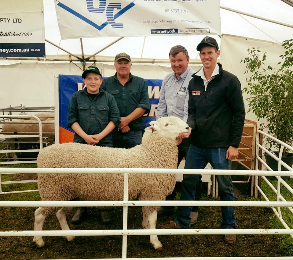 2017 Warra-M ram sale: Top price ram, lot 1, sold for $2500 to the Wright family.